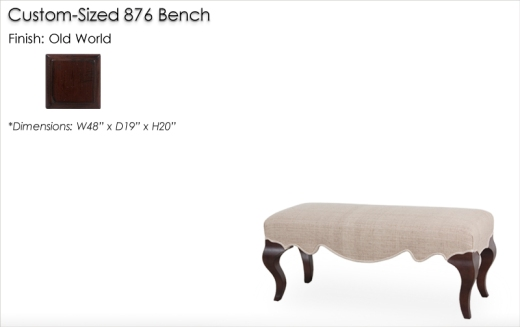Custom Sized 876 Bench finished in Old World