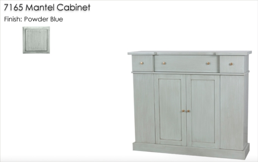 7165 Mantel Cabinet finished in Powder Blue