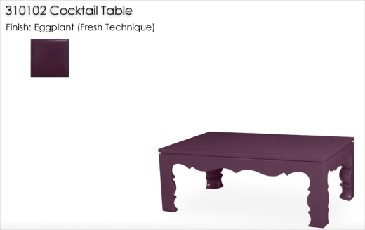 310102 Cocktail Table finished in Eggplant, Fresh Technique