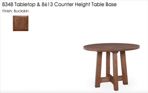 8348 Dining Tabletop and 8613 Counter Height Table Base finished in Buckskin