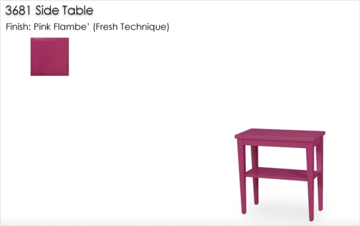 3681 Side Table finished in Pink Flambe
