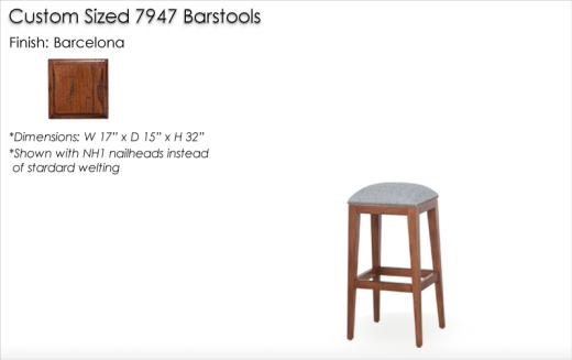 Custom Sized 7947 Barstools finished in Barcelona