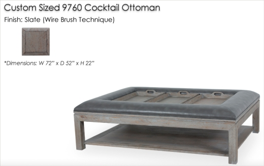 Custom Sized 9760 Cocktail Ottoman finished in Slate, Wire Brush Finish