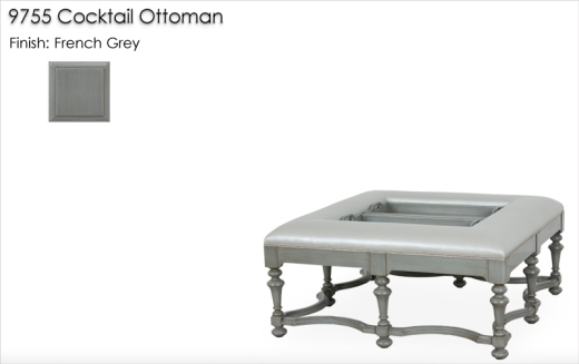 9755 Cocktail Ottoman finished in French Grey