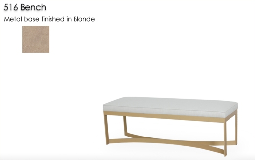 516 Bench with metal base finished in Blonde