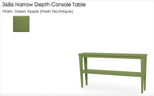 3686 Narrow Depth Tapered Leg Console Table finished in Green Apple, Fresh   Technique