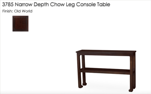 3785 Narrow Depth Chow Leg Console Table finished in Old World