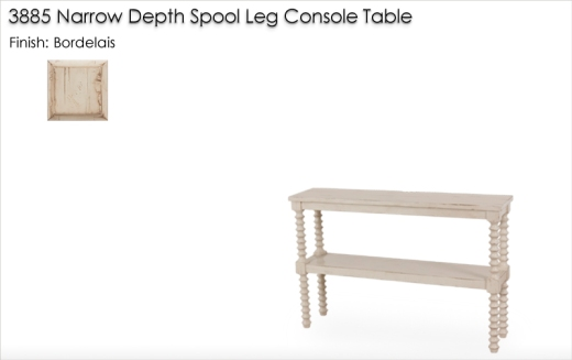 3885 Narrow Depth Spool Leg Console Table finished in Bordelais