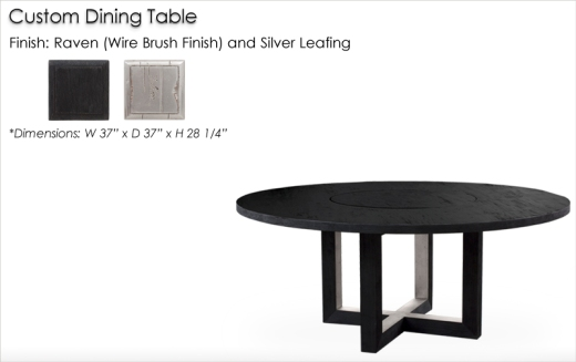 Custom 2106 Style Dining Table with Lazy Susan finished in Raven and Silver Leaf