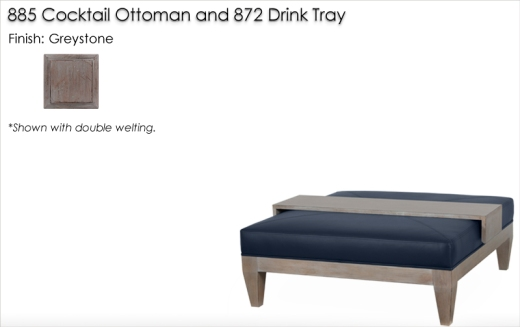 885 Coctail Ottoman finished in Greystone