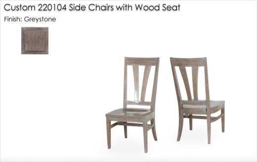 Custom 220104 Side Chairs with Wood Seat finished in Greystone