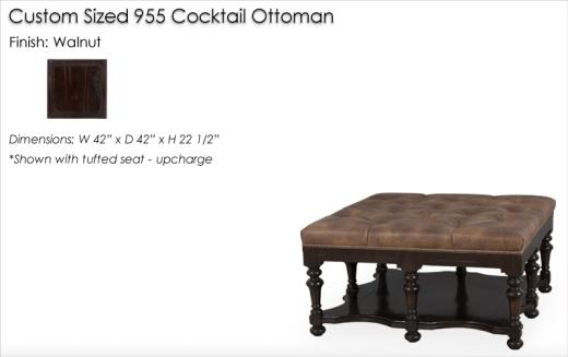 Custom SIzed 955 Cocktail Ottoman finished in Walnut