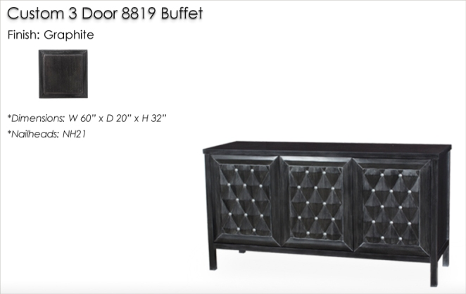 Custom 3 Door 8819 Buffet finished in Onyx