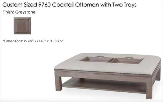 Custom Sized 9760 Cocktail Ottoman with Two Trays finished in Greystone