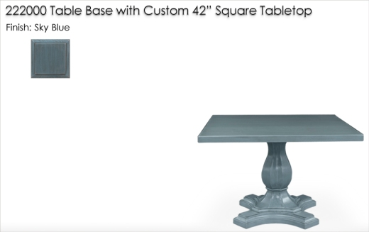 "222000 Table Base with Custom 42"" Square Tabletop finished in Sky Blue"