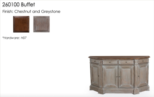 260100 Buffet finished in Chestnut and Greystone