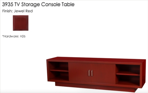 3935 TV Storage Console Table finished in Jewel Red