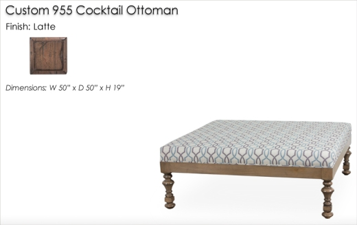 Custom 955 Cocktail Ottoman finished in Latte