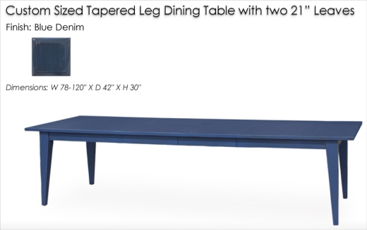 Lorts Custom Tapered Leg Dining Table with two 21 inch leaves finished in Blue Denim