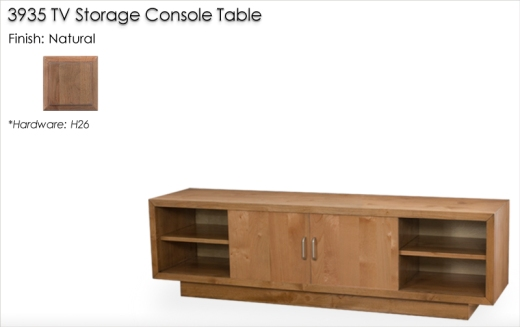 Lorts 3935 TV Storage Console Table finished in Natural