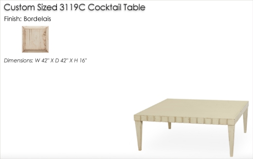 Lorts Custom Sized 3319C Cocktail Table finished in Bordelais