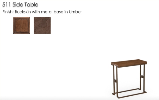 Lorts 511 Side Table finished in Bucksking with metal base in Umber