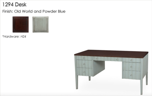 Lorts 1294 Desk finished in Powder Blue and Old World