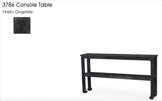 Lorts 3786 Narrow Depth Chow Leg Console Table finished in Graphite
