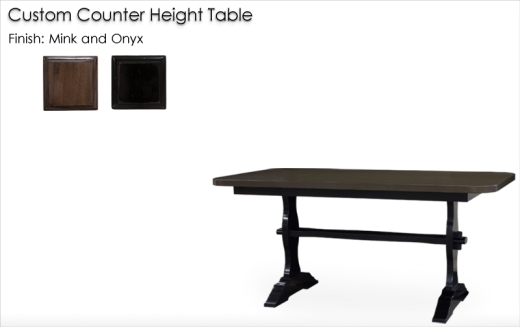 Lorts Custom Counter Height Table finisghed in Mink and Onyx