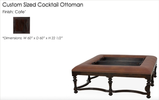 Lorts Custom Sized 9755 Cocktail Table finished in Cafe