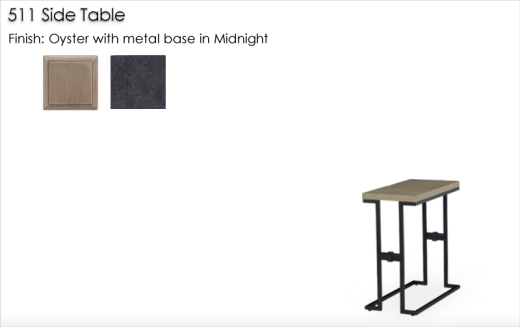Lorts 511 Side Table finished in Oyster with metal base finished in Midnight