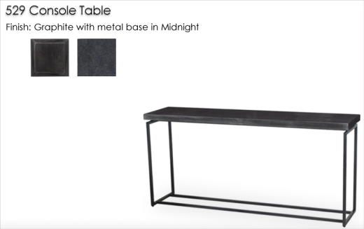 Lorts 529 Console Table finished in Graphite with metal base in Midnight