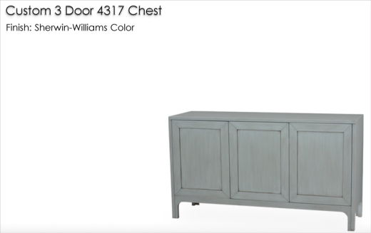 Lorts Custom 3 Door 4317 Chest finished in a Sherwin-Williams color