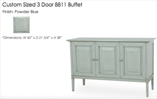 Lorts Custom Sized 3 Door 8811 Buffet finished in Powder Blue