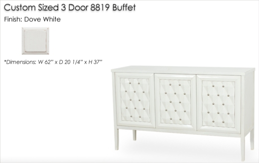 Lorts Custom Sized 3 Door 8819 Buffet finished in Dove White