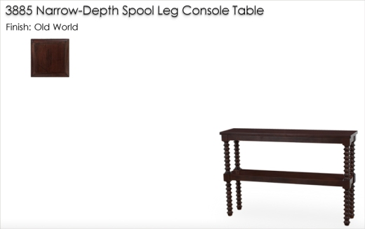Lorts 3885 Narrow-Depth Console Table finished in Old World