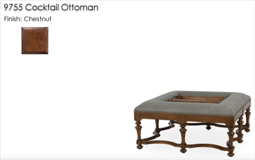 Lorts 9755 Cocktail Ottoman finished in Chestnut