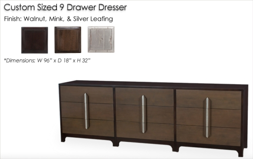 Lorts Custom Sized 4318 Dresser finished in Walnut, Mink, and Silver Leafing