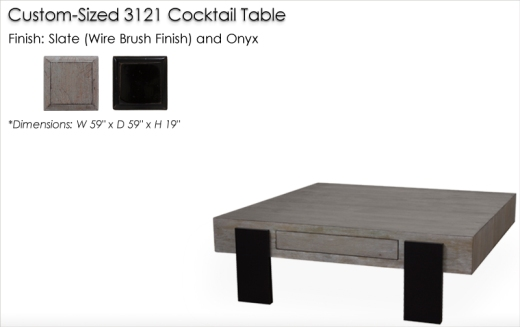 Lorts Custom sized 3121 Cocktail Table finished in Slate and Onyx