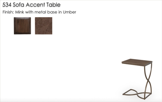 Lorts 534 Sofa Accent Table finished in Mink and Umber