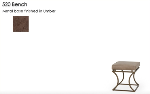 Lorts 520 Bench finished in Umber, metal finish