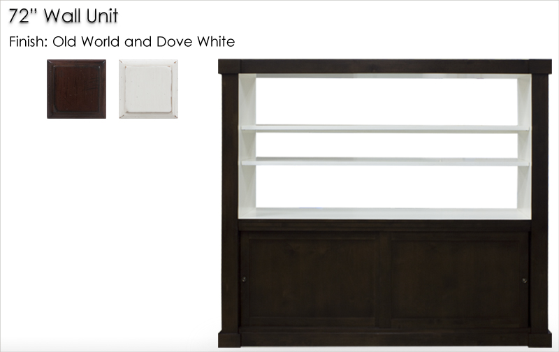 "Lorts 72"" Wall Unit finished in Old World and Dove White"