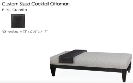 Lorts Custom Sized 885 Cocktail Ottoman finished in Graphite
