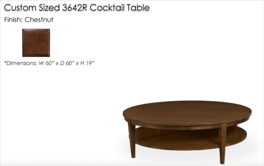 Lorts Custom Sized 3642R Cocktail Table finished in Chestnut