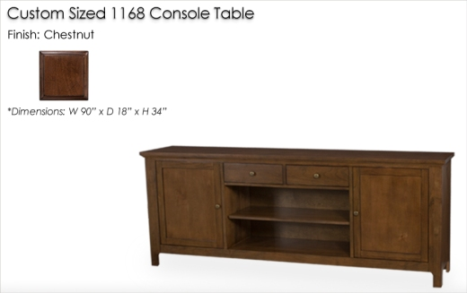 Lorts Custom Sized 1168 Console Table finished in Chestnut