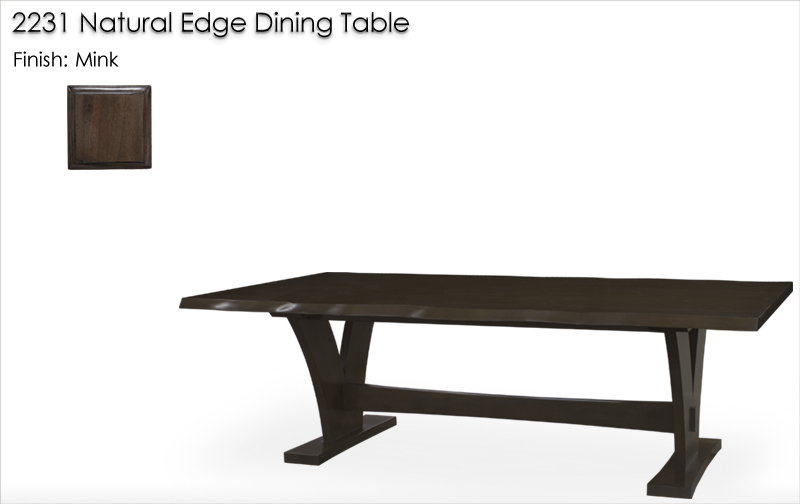 Lorts 2231 Natural Edge Dining Table finished in Mink