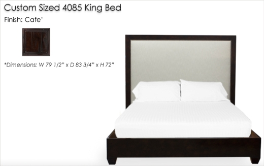 Lorts Custom Height 4085 King Bed finished in Cafe'