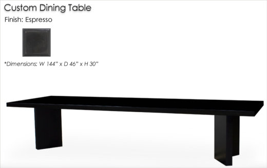 Lorts Custom Dining Table finished in Espresso