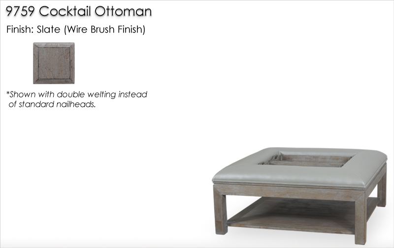 Lorts 9759 Cocktail Ottoman finished in Slate, Wire Brush Finish