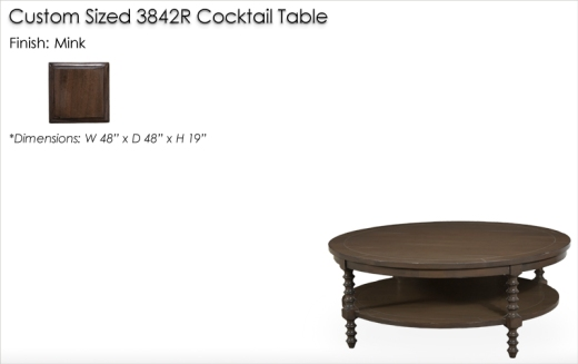 Lorts Custom Sized 3842R Cocktail Table finished in Mink